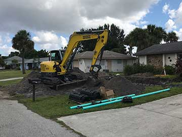 Septic system replacement in North Port FL.